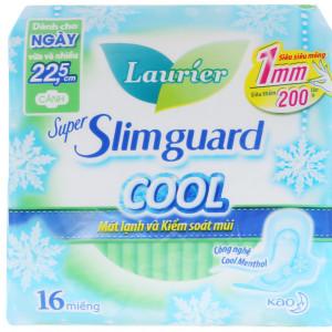 Băng vệ sinh Laurier Super Slimguard Cool siêu siêu mỏng có cánh 22.5cm (16 miếng/gói)