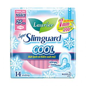 Băng vệ sinh Laurier Super Slimguard Cool mát lạnh & kiểm soát mùi 25cm (14 miếng/gói)