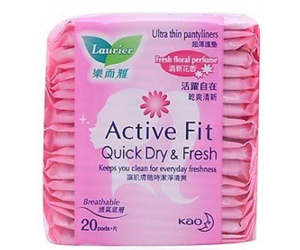 Băng vệ sinh hàng ngày Laurier Active Fit mềm mịn khô thoáng hương thơm (20 miếng/gói)