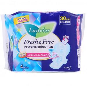 Băng vệ sinh Laurier Fresh & Free đêm siêu chống tràn 30cm (4 miếng/gói)