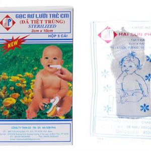 Gạc rơ lưỡi trẻ em đã tiệt trùng Sterilized Hải Sơn Pha (5 cái/hộp)