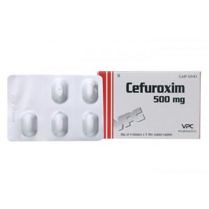 Thuốc kháng sinh Cefuroxim 500mg VPC (1 vỉ x 10 viên/hộp)