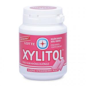 Kẹo gum không đường ngăn ngừa sâu răng hương dâu bạc hà Lotte Xylitol (58g)