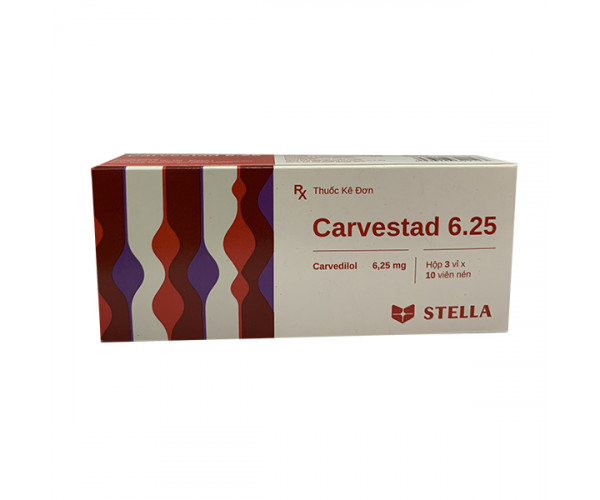 Thuốc điều trị tăng huyết áp Carvestad 6.25mg (3 vỉ x 10 viên/hộp)