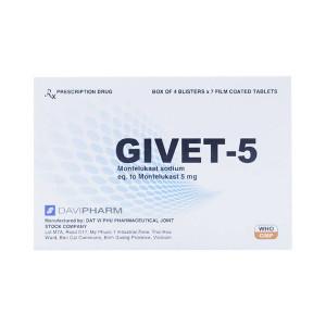 Thuốc điều trị hen phế quản Givet 5mg (4 vỉ x 7 viên/hộp)