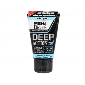 Sữa rửa mặt tác động kép sạch sâu cực mát lạnh cho nam Men's Biore Deep Action Extra Cool (100g)