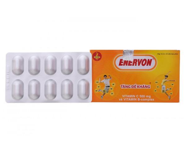 Thuốc điều trị thiếu hụt Vitamin C & B tăng cường sức đề kháng cho cơ thể Enervon (10 vỉ x10 viên/hộp)