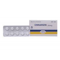 Thuốc chống say tàu xe, rối loạn tiền đình Cinnarizin Vidipha 25mg (10 vỉ x 10 viên/hộp)