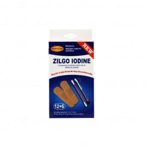 Bộ sản phẩm chăm sóc vết thương Zil Iodine (12 miếng dán + 6 tăm bông iod)