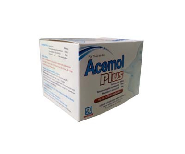 Thuốc điểu trị cảm cúm, cảm lạnh Acemol Plus (10 vỉ x 10 viên/hộp)