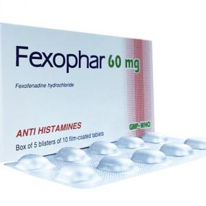 Thuốc điều trị viêm mũi dị ứng & nổi mề đay vô căn mãn tính Fexophar 60mg (5 vỉ x 10 viên/hộp)
