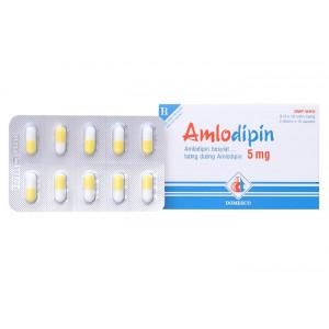 Thuốc trị cao huyết áp Amlodipin Domesco 5mg (3 vỉ x 10 viên/hộp)
