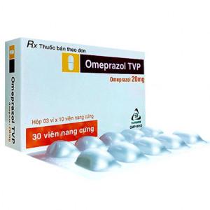 Thuốc điều trị viêm loét dạ dày tá tràng Omeprazol 20mg Tv.Pharm (3 vỉ x 10 viên/hộp)