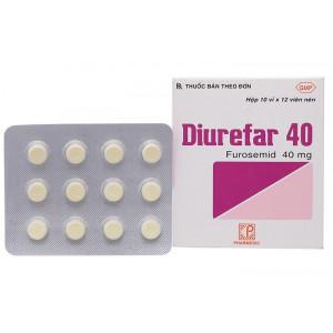 Thuốc lợi tiểu Diurefar 40mg (10 vỉ x 12 viên/hộp)