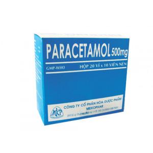 Thuốc giảm đau, hạ sốt Paracetamol 500mg MKP (20 vỉ x 10 viên/hộp)