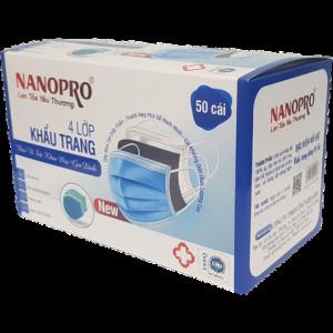 Khẩu trang y tế Nanopro 4 lớp màu xanh dương (50 chiếc/hộp)