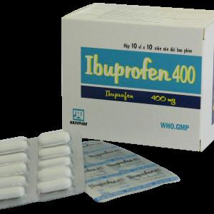 Thuốc giảm đau, kháng viêm Ibuprofen 400mg Nadyphar (10 vỉ x 10 viên/hộp)