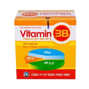 Viên uống bổ sung vitamin B1, B6, B12 Vitamin 3B PV (10 vỉ x 10 viên/hộp)