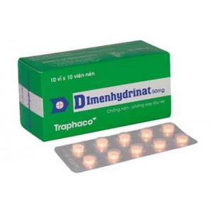 Thuốc chống nôn, say tàu xe Dimenhydrinat 50mg Trapharco (10 vỉ x 10 viên/hộp)