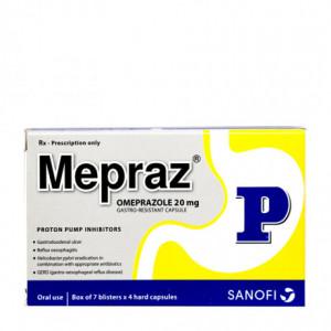Thuốc điều trị loét dạ dày, tá tràng Mepraz 20mg (7 vỉ x 4 viên/hộp)