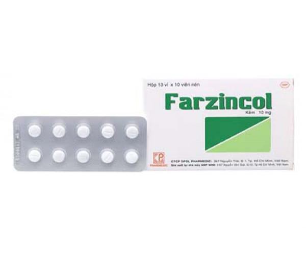 Thuốc bổ sung kẽm Farzincol 10mg (10 vỉ x 10 viên/hộp)