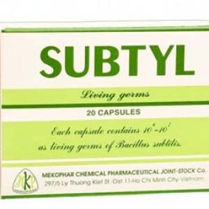 Thuốc trị tiêu chảy, viêm cấp và mãn tính ở người lớn và trẻ em Subtyl (2 vỉ x 10 viên/hộp)
