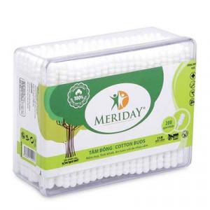 Tăm bông dạng xoắn Meriday Bạch Tuyết (200 que/hộp)