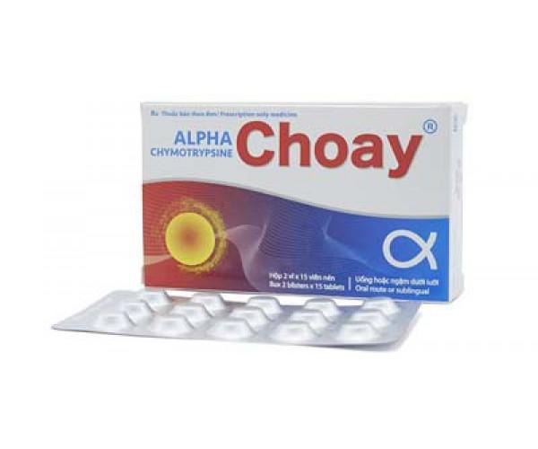 Thuốc kháng viêm chống phù nề Alphachymotrypsine Choay (2 vỉ x 15 viên/hộp)