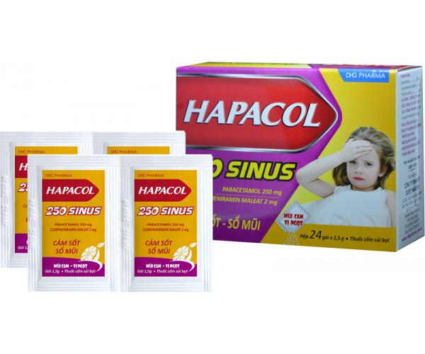 Thuốc giảm đau, hạ sốt và điều trị sổ mũi cho trẻ em Hapacol Sinus 250 (24 gói/hộp)