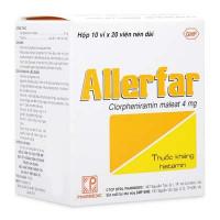 Thuốc điều trị viêm mũi dị ứng và các trường hợp dị ứng ngoài da Allerfar 4mg (10 vỉ x 20 viên/hộp)