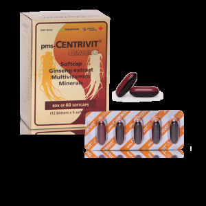 Thực phẩm chức năng bổ sung vitamin Pms-Centrivit Ginseng Soft Caps (60 Viên/hộp)