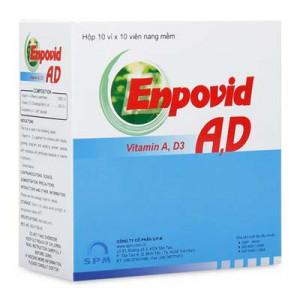 Thuốc bổ sung Vitamin A-D, phòng bệnh nhuyễn xương Enpovid A,D (10 vỉ x 10 viên/hộp)