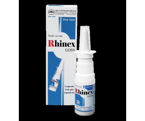 Thuốc trị nghẹt mũi, sổ mũi, giảm sung huyết mũi Rhinex 0.05% dạng xịt (15ml)