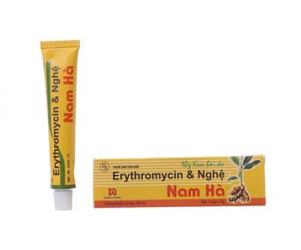 Kem trị mụn trứng cá, vết thương hở Erythromycin & Nghệ Nam Hà (10g)