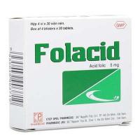 Thuốc điều trị bệnh thiếu hụt hợp chất acid folic và thiếu máu Folacid 5mg (4 vỉ x 20 viên/hộp)