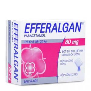 Thuốc điều trị các triệu chứng đau đầu dạng bột sủi Efferalgan 80mg (12 gói/hộp)