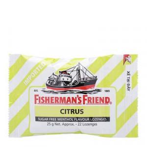 Kẹo cay con tàu không đường vị cam chanh Fishermans Friend Citrus 25g