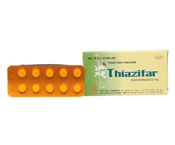 Thuốc lợi tiểu Thiazifar 25mg (10 vỉ x 10 viên/hộp)
