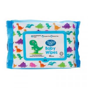 Khăn ướt em bé không mùi hương Tendersoft màu xanh (30 tờ/gói)
