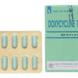 Doxycyclin 100mg MKP (10 vỉ x 10 viên/hộp)