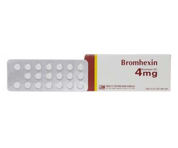 Thuốc điều trị làm tan đàm trong viên phế quản mãn tính Bromhexin 4mg F.T Pharma (10 vỉ x 20 viên/hộp)