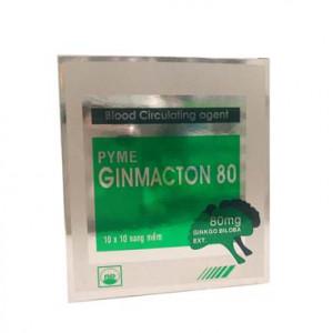 Thuốc điều trị suy giảm tuần hoàn máu Pyme Ginmacton 80 (10 vỉ x 10 viên/hộp)