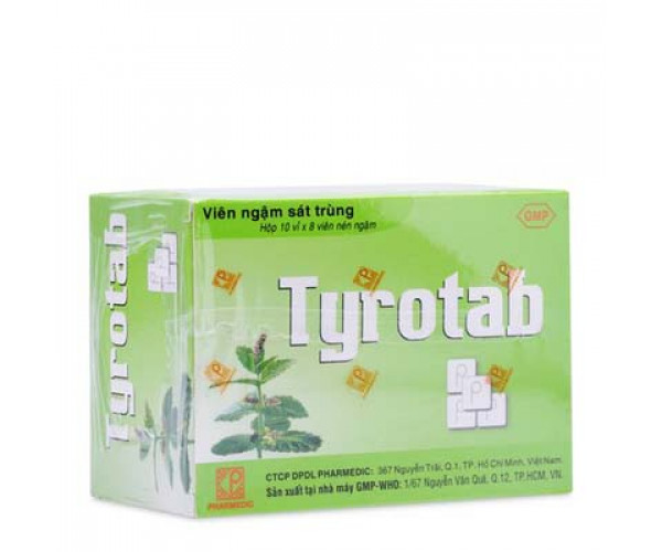 Viên ngậm sát trùng các bệnh ở họng và miệng Tyrotab (10 vỉ x 8 viên/hộp)