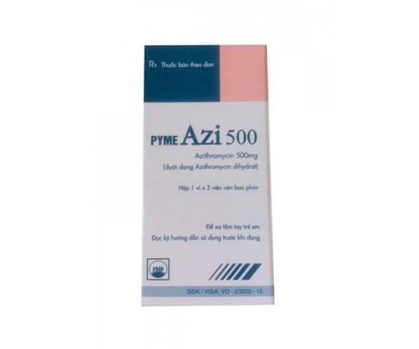 Thuốc kháng sinh Pyme Azi 500mg (1 vỉ x 3 viên/hộp)