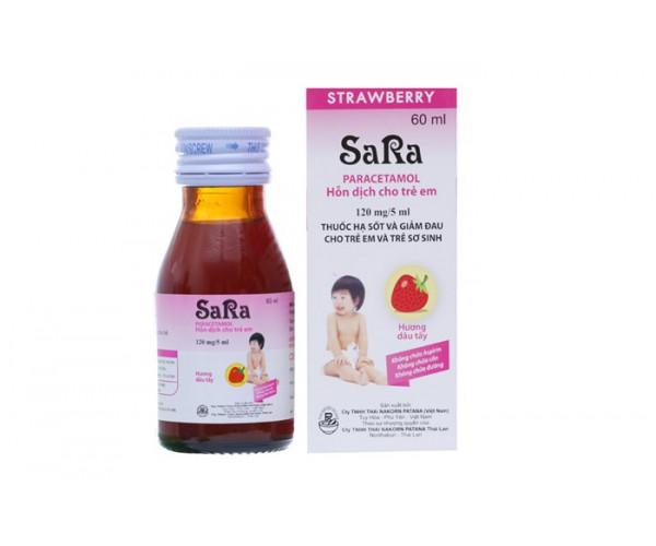 Siro giảm đau, hạ sốt Sara hương dâu 120mg/5ml (60ml)