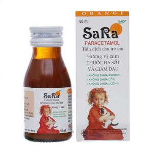 Siro giảm đau, hạ sốt Sara hương cam 250mg/5ml (60ml)