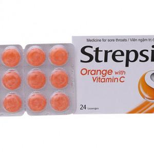 Viêm ngậm trị đau họng Strepsils Orange & Vita C (2 vỉ x 12 viên/hộp)