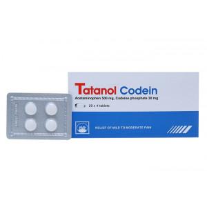 Thuốc giảm đau, hạ sốt Tatanol Codein (20 vỉ x 4 viên/hộp)