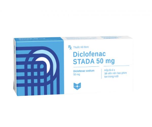 Thuốc giảm đau, kháng viêm Diclofenac Stada 50mg (5 vỉ x 10 viên/hộp)