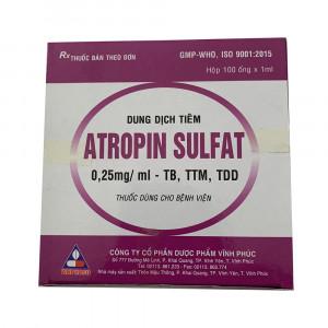 Dung dịch tiêm Atropin Sulfat 0.25mg/ml (100 ống/hộp)